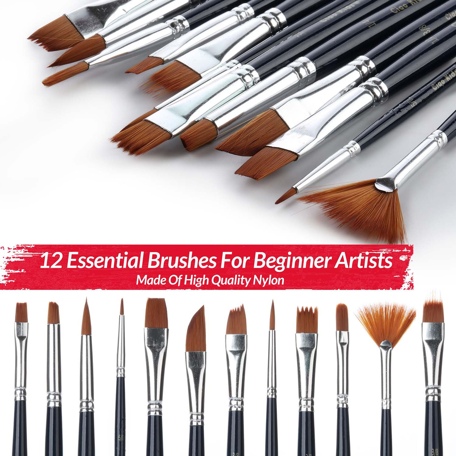 RiseBrite Kids Art Sets Include 12 Essential Paint Brushes For Young Artists To Start With