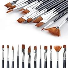 RiseBrite Kids Art Set Includes 12 High Quality Nylon Painting Brushes