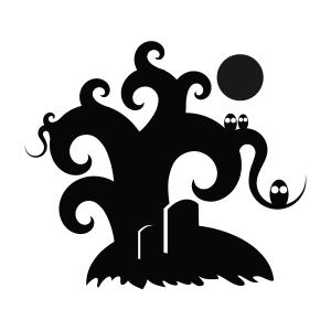 Spooky Tree Silhouette Stencil