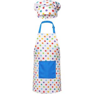 RIseBrite Kids Polka Dot Apron And Chef Hat Set