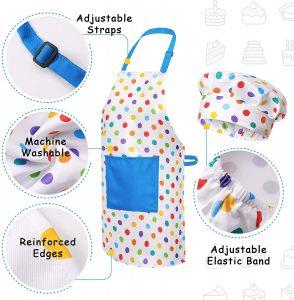 RiseBrite Kids Cake Decoration Set Polka Dot Apron Details