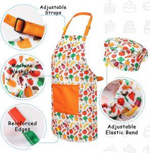 RiseBrite Ultimate Kids Cooking Set Vegetable Apron And Hat Details