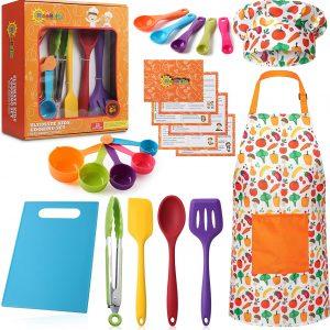 RiseBrite Ultimate Kids Cooking Set Young Girl Wearing Vegetable Apron