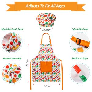 RiseBrite Vegetable Kids Apron And Chef Hat Adjusts To Fit All Ages