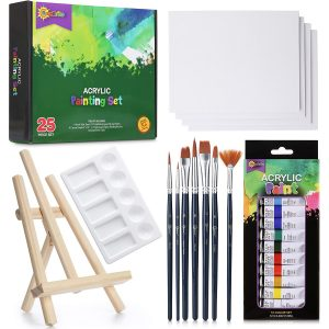 RIseBrite Acrylic Paint Set With Canvas, Palette And Tabletop Easel