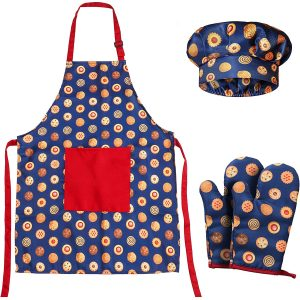 RiseBrite Kids Blue Cookies Apron, Chef Hat And Mitts Set