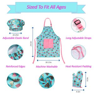 RiseBrite Kids Apron, Chef Hat And Oven Mitt Set Is Adjustable To Fit Many Sizes