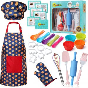 RiseBrite Kids Baking Set With Blue Cookies Apron, Chef Hat And Mitt