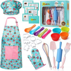 RiseBrite Girls Baking Set With Pink Hearts Apron, Chef Hat And Mitt Set