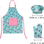 RiseBrite Girls Pink Heart And Light Blue Apron, Chef Hat And Mitt Set Dimensions