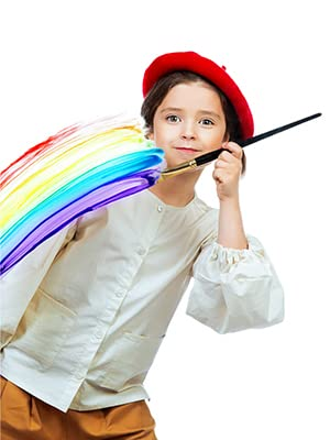 Young Boy Painting Rainbow