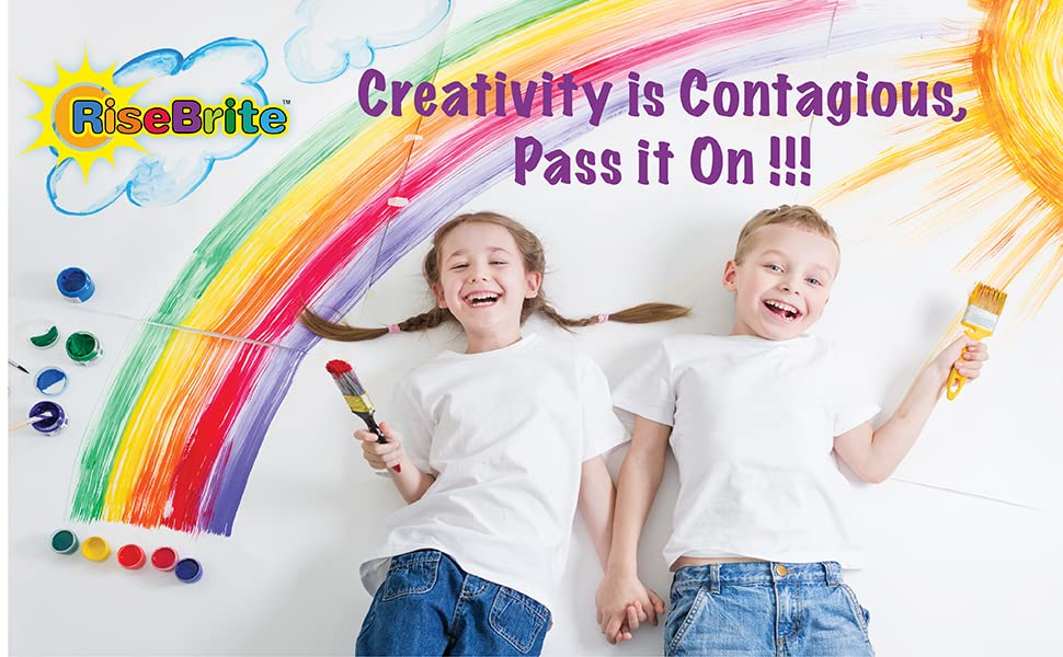 Young Kids Painting Rainbow On Wall