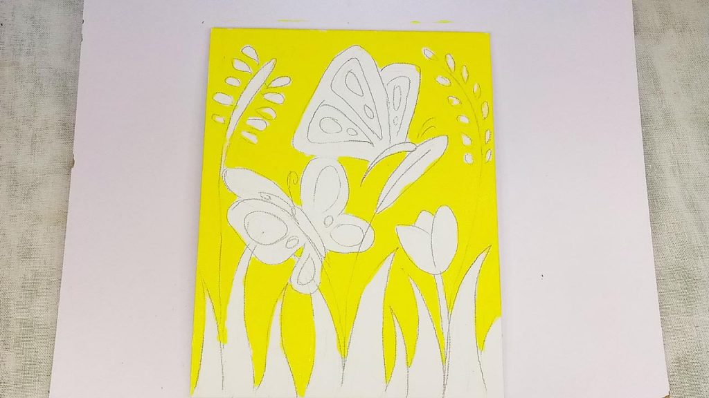 Easy Acrylic Butterfly Painting Step 2: The Background