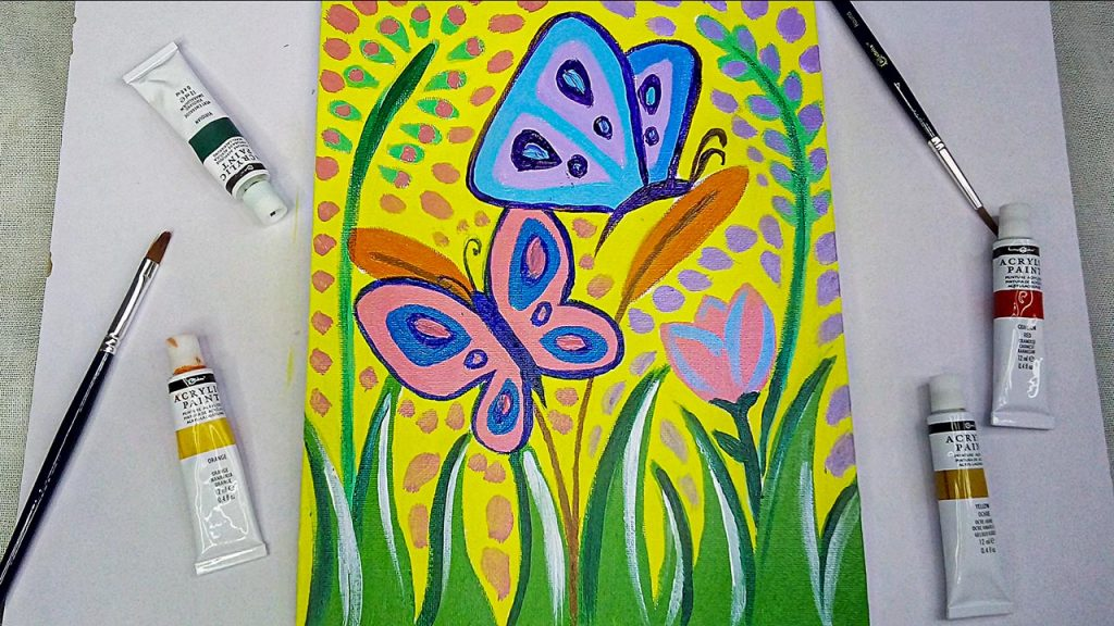 Step By Step Easy Acrylic Butterfly with Flowers Painting