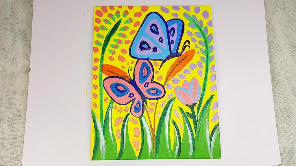 Easy Acrylic Butterfly Painting Step 6: The Finishing Touches