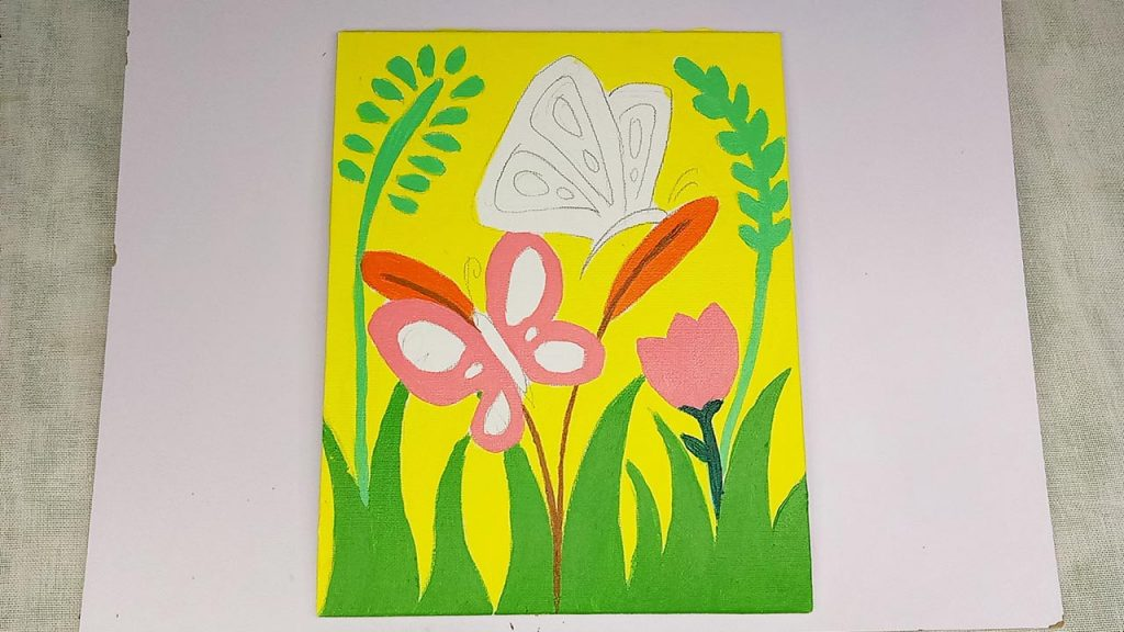 Easy Acrylic Butterfly Painting Step 4: The Pink Butterfly