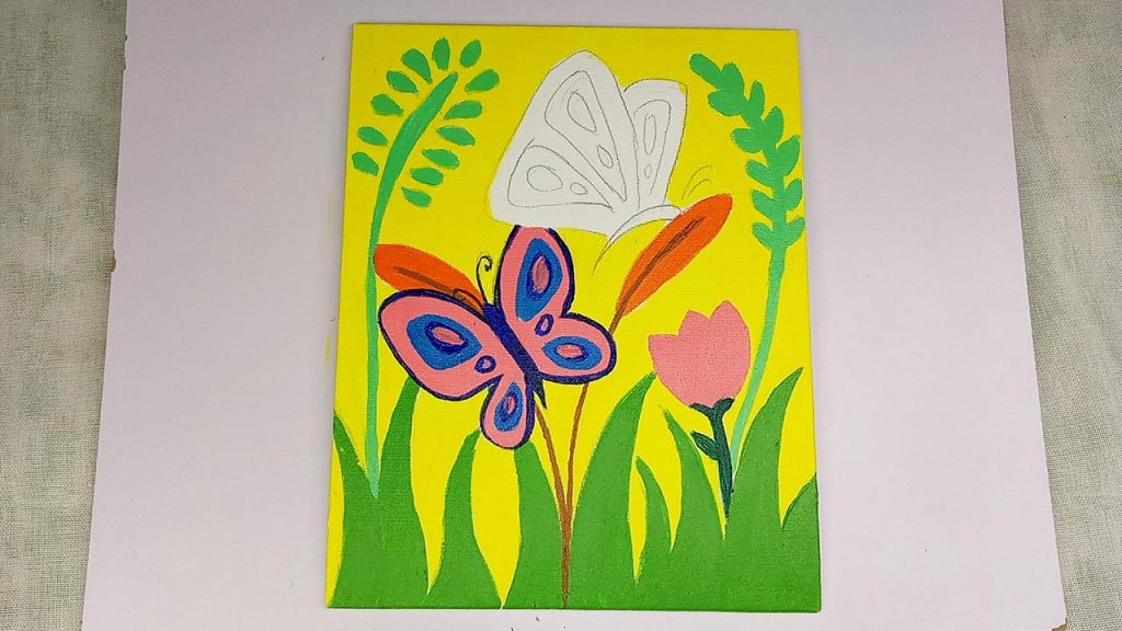 Easy Acrylic Butterfly Painting Step 5: The Pink Butterfly Outline