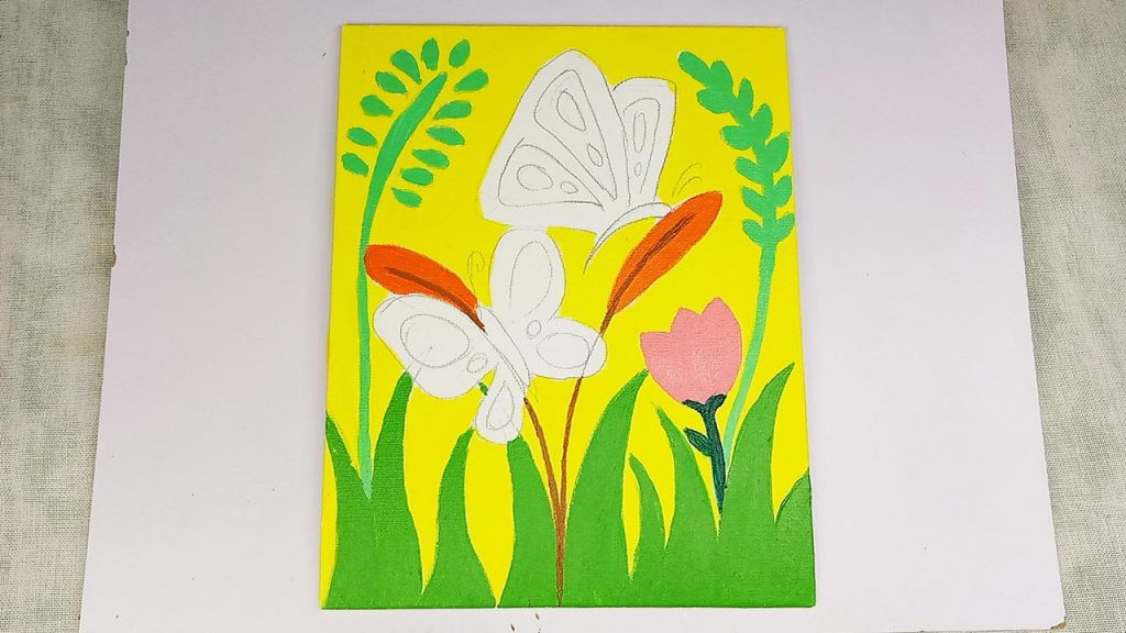 Easy Acrylic Butterfly Painting Step 3: The Flowers And Plants