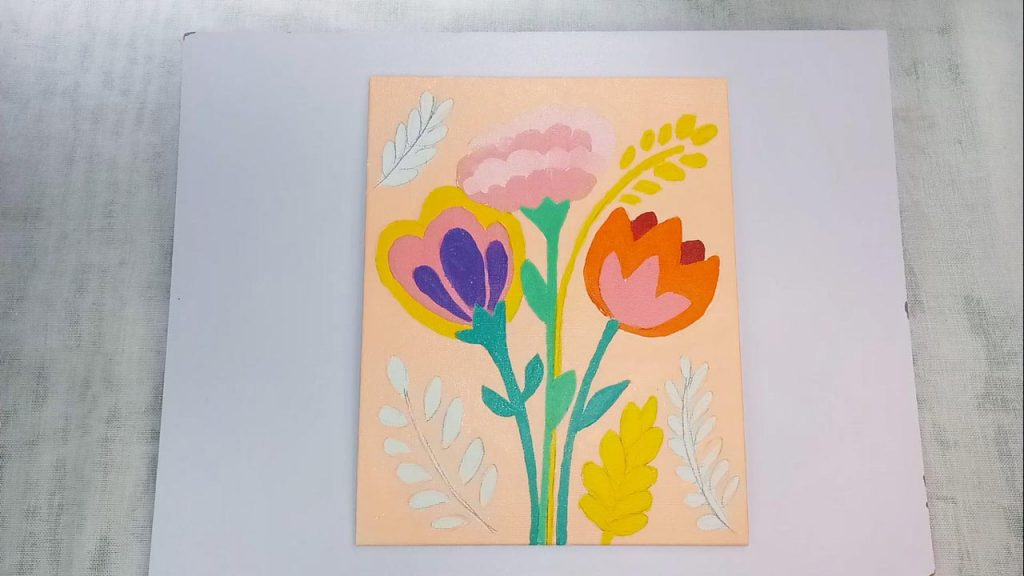 Acrylic Flower Painting For Beginner And Kids Step 6: Filling In The Stems With Green Acrylic Paint