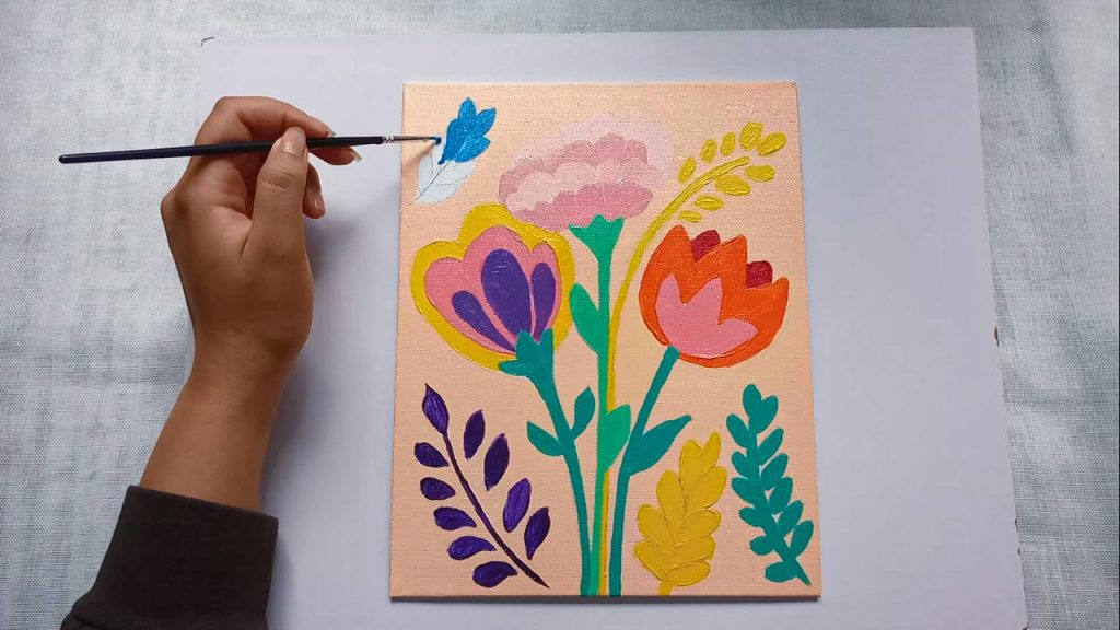 Acrylic Flower Painting For Beginner And Kids Step 7: Painting Grasses With Acrylic Paint