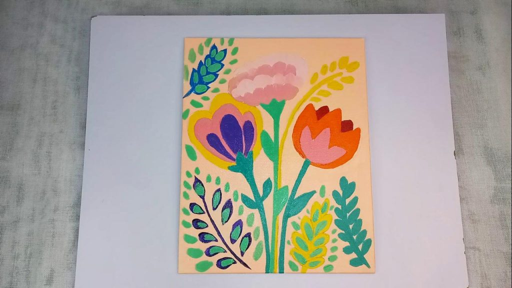 Acrylic Flower Painting For Beginner And Kids Step 8: Add Green Highlights With Dabbing