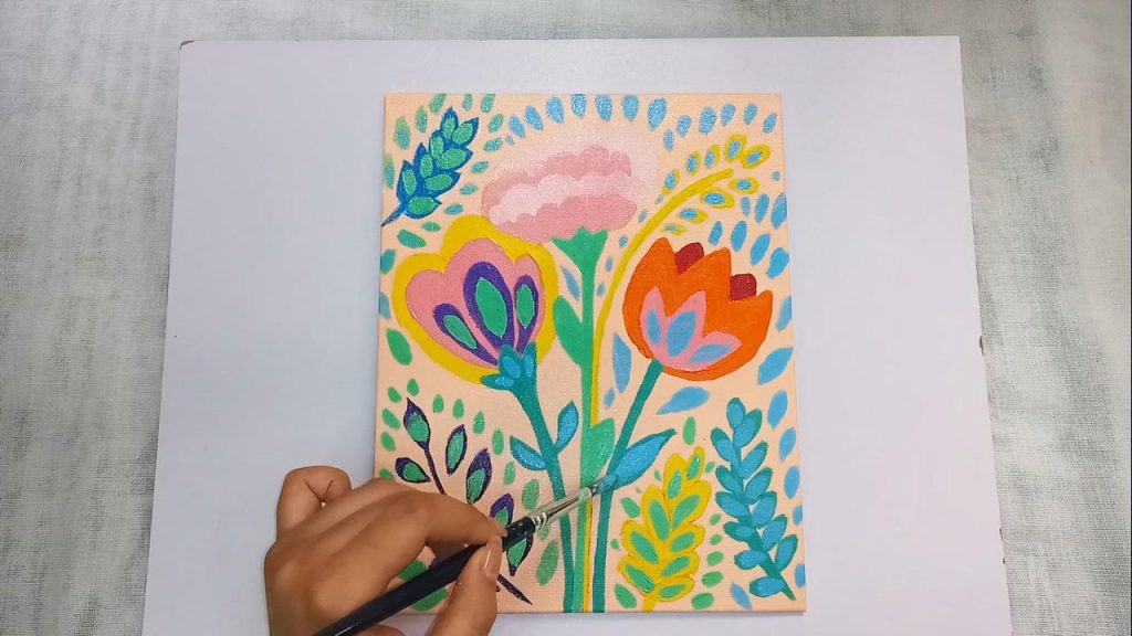 Acrylic Flower Painting For Beginner And Kids Step 9: Add Blue Highlights With Dabbing