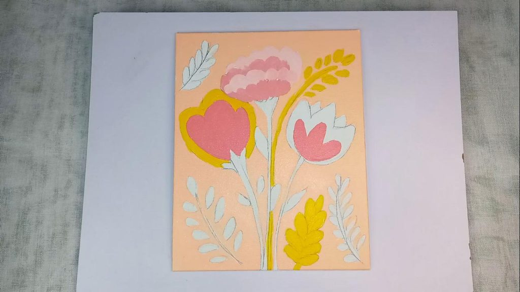 Acrylic Flower Painting For Beginner And Kids Step 4: Painting Pink Flowers With Acrylic