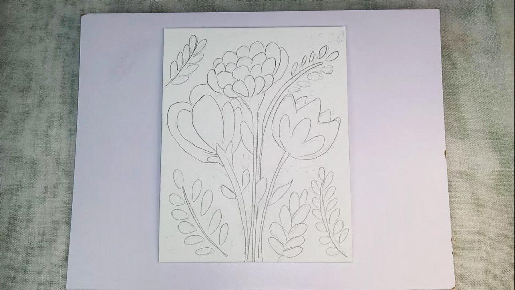 Acrylic Flower Painting For Beginner And Kids Step 1: Sketching