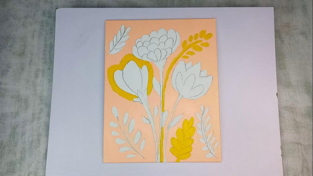 Acrylic Flower Painting For Beginner And Kids Step 3: Painting The Flowers And Grasses With Yellow Acrylic Paint