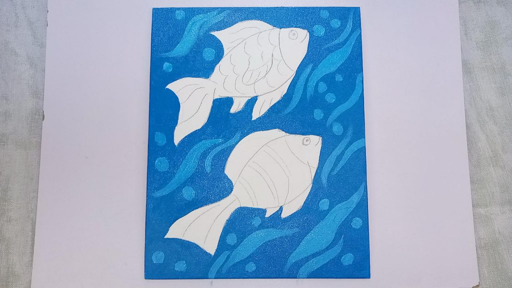 Simple, Cute, and Whimsical Underwater Fish Painting for Kids and Beginners Step 2: Painting the Background With Blue Acrylic Paint