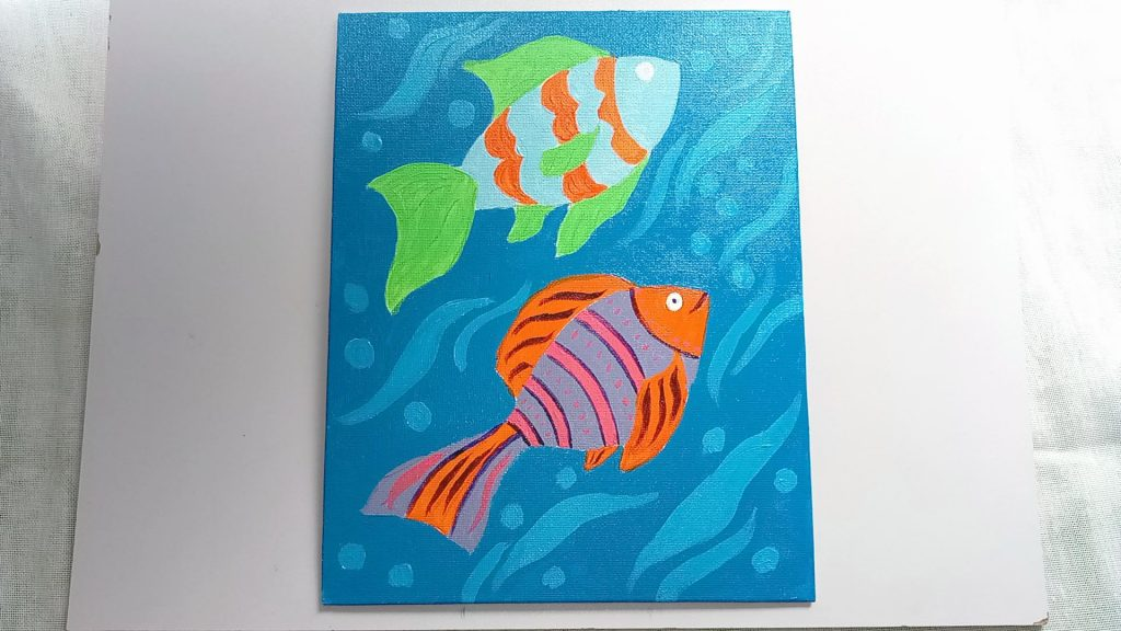 Simple, Cute, and Whimsical Underwater Fish Painting for Kids and Beginners Step 9: Blue Fish Painting With A Light Blue Acrylic Paint Color