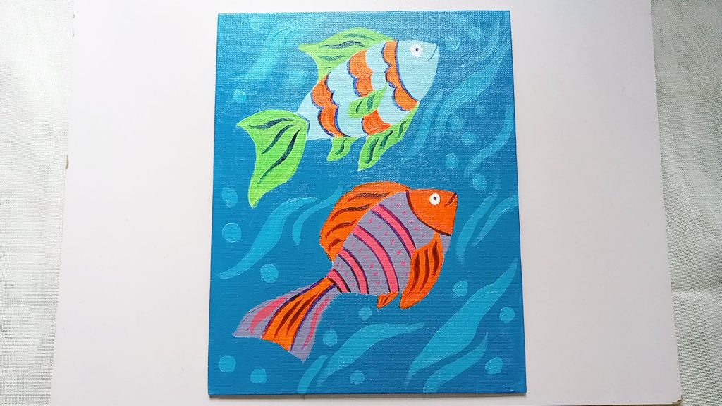 Simple, Cute, and Whimsical Underwater Fish Painting for Kids and Beginners Step 10: Add Definition to the Fish with Dark Blue Acrylic Paint