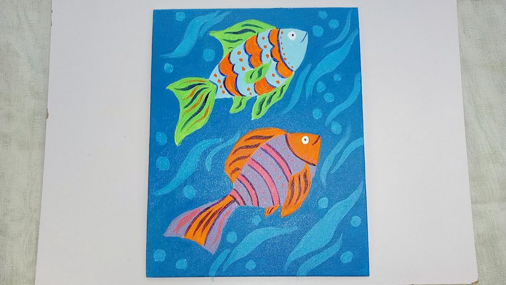 Simple, Cute, and Whimsical Underwater Fish Painting for Kids and Beginners Step 11: Add Orange Acrylic Paint Dots to Give The Painting More of a of a Tropical Fish Look