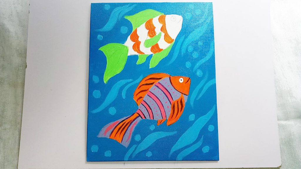 Simple, Cute, and Whimsical Underwater Fish Painting for Kids and Beginners Step 8: Fill in Betta Fish Like Fins with Light Green Acrylic Paint