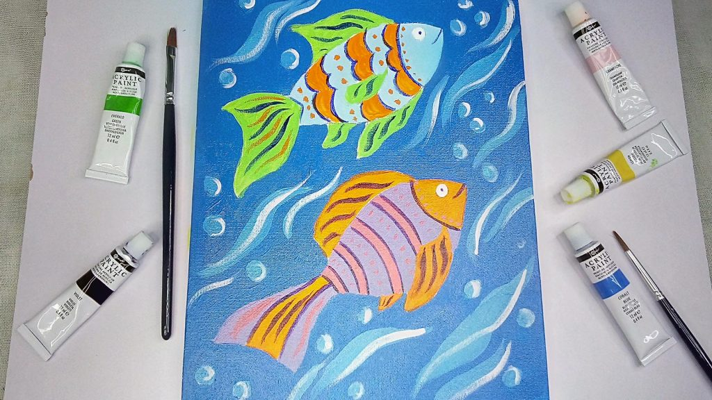 Simple, Cute, and Whimsical Underwater Fish Painting for Kids and Beginners Step 12: Add White Highlight to Bring Definition to Your Underwater Fish Painting