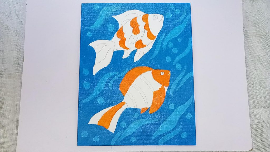 Simple, Cute, and Whimsical Underwater Fish Painting for Kids and Beginners Step 3: Start Making a Colorful Fish Painting with Orange Paint