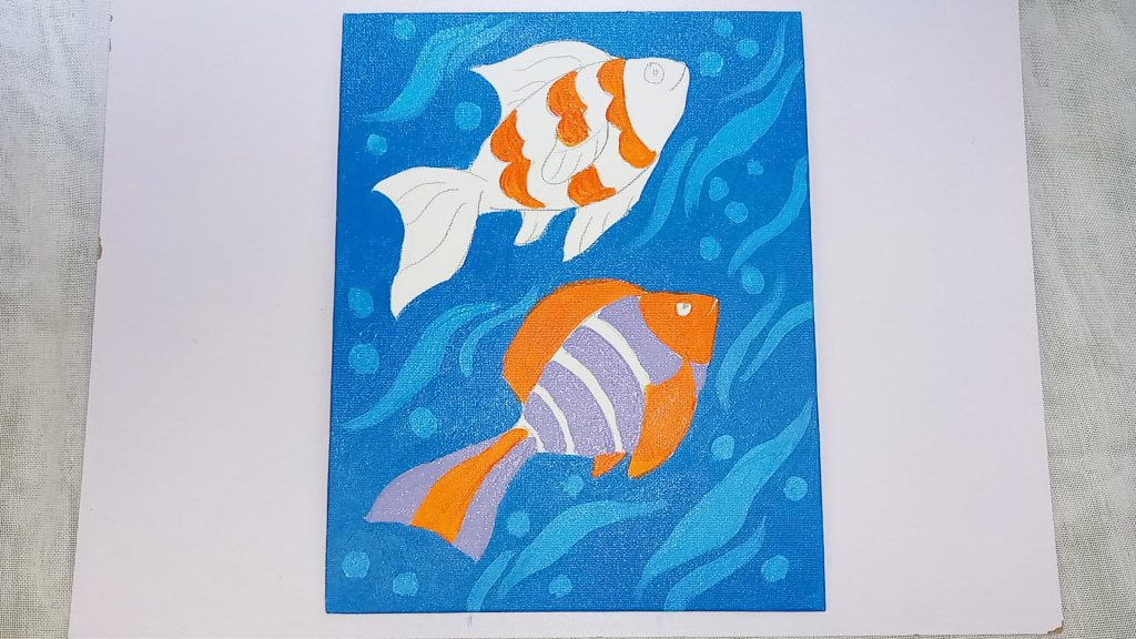 Simple, Cute, and Whimsical Underwater Fish Painting for Kids and Beginners Step 4: Continue Your Painting of a Fish by Adding Purple Acrylic Paint