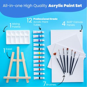 RiseBrite All-In-One High Quality Acrylic Paint Set